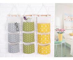 doitsa bolsa de almacenamiento puerta suspendida multifuncional impermeable creatividad cesta bolsa de almacenaje bolsa organizador pared bolsas en pared multicapa tela lino y algodón Size 68 X 20 cm (amarillo)