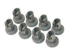 Ruedas de color gris para cesta superior de lavavajillas Zanussi - Pack de 8 (número de pieza original 50286967000) multicolor