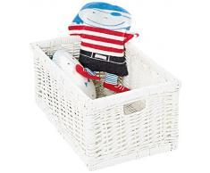 Pinolino cesta de mimbre juguetes caja de juguetes de almacenamientoWiebke, blanco