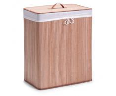 Zeller 13413 - Cesto para la colada con 2 compartimentos, bambú, 52 x 32 x 60 cm, color natural