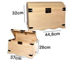 RAYHER - 6153900 - Madera-baúles-Set, 2 tamaños, 37 x 21 x 26 cm + 44,8 x 28,8 x 32 cm