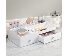 InterDesign Drawers Caja con compartimentos   Caja de maquillaje con 2 cajones y 15 compartimentos   Organizador de maquillaje o artículos de oficina   Plástico blanco