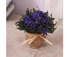 XIN HOME Simulación de flor artificial Set Rattan flor de seda para la decoración del hogar Oficina Sala de ornamentos, Púrpura canasta de flores de ratán