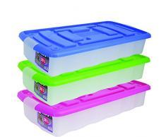 MSV 344 - Caja de almacenaje con ruedas (plástico, 30 L), transparente