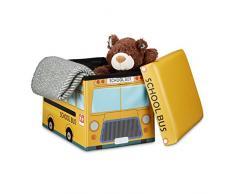 Relaxdays Almacenaje de Juguetes Autobús Escolar, Piel sintética, Amarillo, 32x48x32 cm