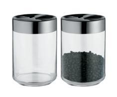 Alessi LC09 - Tarro de cristal con tapa hermética de acero inoxidable 18/10, acabado brillante, color negro