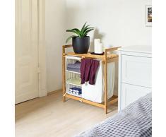 Relaxdays 10019206 cesto para la colada de bambú con linea con estante y 3 compartimentos, cesto para la ropa con bolsa para la colada de aproximadamente 40 L de tela blanca, 77 x 69,5 x 36 cm, colour beige