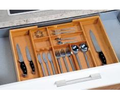 Kesper 1708613 - Caja para cubertería de madera de bambú (tamaño regulable de 35 - 58 cm)