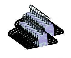 JVL Perchas finas con revestimiento antideslizante (50 unidades), color negro