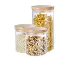 Buonostar Cajas de Almacenamiento 3 Piezas de Vidrio/Madera Natural. Un Tarro de Vidrio de borosilicato con Tapa de Madera y Junta de Silicona.