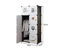 Armarios plegables Juguetes de ropa zapatos lindos Ropero Armario gabinete portátil de dibujos animados Animales Diseñado bricolaje modular de almacenamiento Organizador Para el hogar Ropa Zapatos Jug