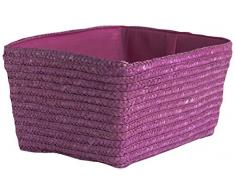 Compactor con espacio de almacenamiento de paja con cesta de Hawai trenzado, rosa