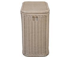 Vintage blanco de farbener de ratán cesta para la colada/ropa caja decorada con motivos de rayas