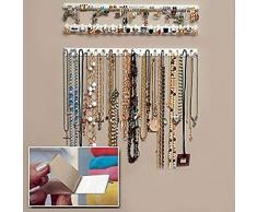 Diseño práctico Exhibidor de Joyas Collar Pendiente Pulsera Organizador Soporte de exhibición Perchero Dormitorio Joyería Colgador de Pared - Blanco