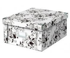 Zeller 17847 Caja de almacenaje de cartón Blanco (White Floral) 31 x 26 x 14 cm