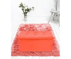 Rebecca Mobili Puf contenedor de Piel sintética, puf Plegable, baúl con Tapa roja - Medidas: 38 x 76 x 38 cm (AxANxF) - Art. RE4623