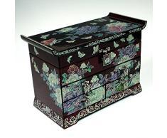 Madre de Pearl peonía flor mariposa rojo lacado madera cajón Joyero joyería caja cofre del tesoro