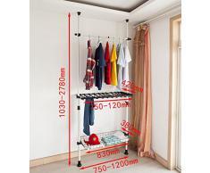 SoBuy®Sistema de perchero extensible,perchero telescópico,L(750x1200mm)xA(1030-2780mm), metal y plástico, color blanco, FRG35, ES