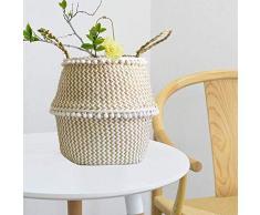 Seagrass cesto de almacenamiento, cesta ropa plegable,cesta mimbre multifuncional, Canasta tejida de algas naturales decoración para el hogar (M)