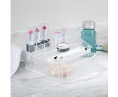 InterDesign Rain Caja con compartimentos | Caja de maquillaje con 1 cajón | Organizador de maquillaje para el baño o tocador | Plástico transparente