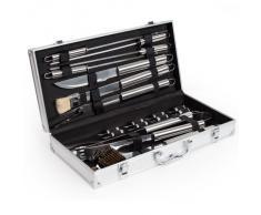 TecTake Cubertería de 18 piezas para barbacoa Accesorios para barbacoa Cubiertos para barbacoa con caja plateada