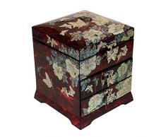 Madre de Perla Mariposa flor rojo lacado madera cajón Joyero joyería caja cofre del tesoro
