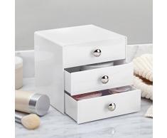 iDesign Organizador de maquillaje con 3 cajones, compacta minicómoda de plástico, mini cajonera cuadrada para productos de belleza y cosméticos, blanco