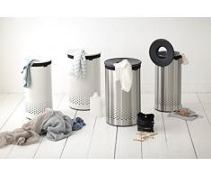 Brabantia 103469 - Cesto para ropa, 35 l, tapa de plástico, cuerpo acero mate