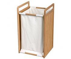 MSV MS524 - Cesta de bambú para ropa, 34 x 35 x 62 cm, color beige y blanco