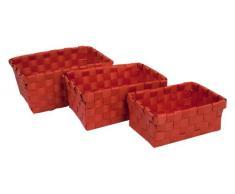 Carpemodo - Cesta Set 3 Piezas Ideal baño y Hogar, Rojo, Elegante, práctico, ayuda a mantener el orden, utensilios, efecto de ratán, plástico trenzado
