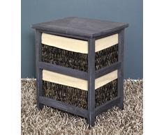 Cómoda estilo rústico, para pasillo, baño, vestíbulo,mesa auxiliar con dos cestas en ratán