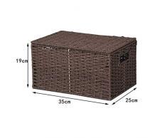 Canasta de almacenamiento Handmade rattan plegable rectangular Caja de almacenamiento cesta de almacenamiento Estante cesta de ropa(35x25x19cm)