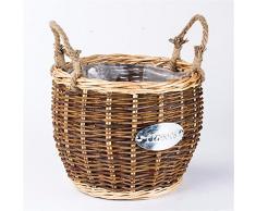 Mimbre ratán creativa pura canasta de flores en macetas tejidas a mano pot inicio productos decoración,B,22x20cm.