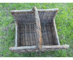 Cesta para leña, Cesta de madera de ratán, color madera de haya barnizada