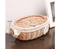 yunt tejida a mano Pan Cesta Wicker Basket extraíble y lavable cesta de mimbre con tapa 28 * 22 * 13 cm
