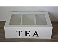 Box Teekiste baúl caja madera tapa de cristal blanco envejecido compartimentos