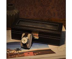 SONGMICS Caja de Reloj, Organizador, Caja para 5 Relojes, Soporte de Exhibición de Relojes y Joyerías, con Espejo, Negro JWB05B