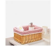 Canasta de almacenamiento Handmade rattan escritorio Living snack Box Home Fabric Frame tejida cesta Bamboo Basket canasta de almacenamiento cesta del almacenaje(L)