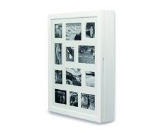 Organizador de joyas, color blanco, con frontal de marco para cuadros, para 12 imágenes