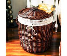 BAGEHUA Rattan cesta CESTA DE ALMACENAMIENTO Cubierta gigante de lavar la ropa Cesta cesta de mimbre tejido Canasta de almacenamiento Cesta paño marrón Torre de París