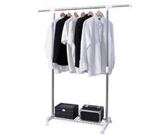 Songmics Perchero Barra para colgar ropa (con ruedas, altura ajustable entre 96 y 171cm), tubo compuesto de acero inoxidable LLR01W