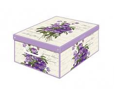 Kanguru Caja de Almacenamiento en cartòn Lavatelli, VIOLETAS con Tapa perfumada, facil Montaje, Resistente, 32x42x17,5cm, Media, PEONIAS