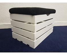 Grandes de madera color blanco asiento banco caja Otomana cofre del tesoro pouffee (PBL)