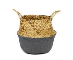 SODIAL Canasta de mimbre Canasta de paja Canasta de jardin plegable Canasta de almacenamiento de mimbre Canasta de pasto marino tejida Canasta de ratan Canasta de organizacion Tamano S-Color gris