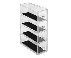 InterDesign Clarity Jewelry Joyero organizador | Caja joyero con 4 cajones para relojes, collares, anillos, etc. | Organizador de joyas antiarañazos | Plástico transparente
