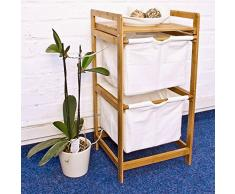 Relaxdays 10016333 - Cesto para colada, bambú cómoda, 37 x 33 x 73 cm