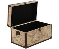 DonRegaloWeb - Set de 2 baúles de madera y polipiel con el mapamundi y herrajes metálico 65x38x35 y 55x32x30cm