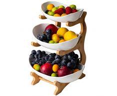 Frutero De 3 Niveles (Estante De Bambú Y Madera * 1, Plato De CeráMica * 3), DecoracióN De Mesa Canasta De Frutas, Para Fruta,Pan, Snacks,White