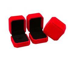 JUNGEN® Estuche de joyería de terciopelo, Organizador de Joyerías, Caja octogonal para Anillo Pendiente (Rojo)