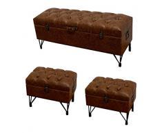 DRW - Set de descalzadora con 2 reposapiés Estilo baúl de Madera Polipiel marrón 121x49.5x41 cm